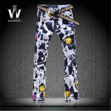 Free shipping black Flower pants jeans mens trousers slim colored drawing men top brand outerwear imported