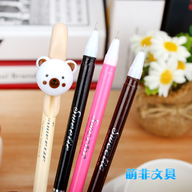 gel pen  Roller ball neutral pen  school supplies Student Stationery Lovely 0.5 mm Writing black 12pcs/set Color random delivery