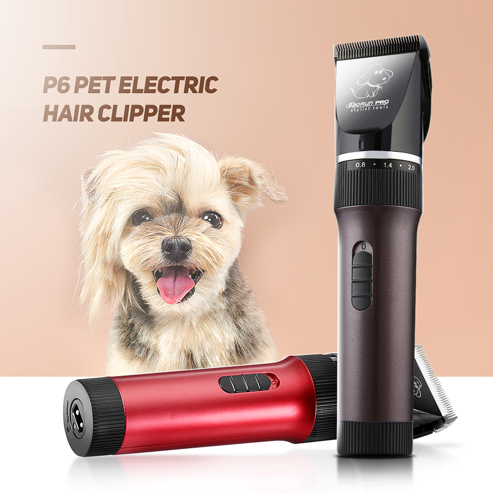 New BaoRun P6 Professional Rechargeable Pet Electric Hair Clipper Cutter Scissor Grooming Kit Brown Red For Pet Accessories