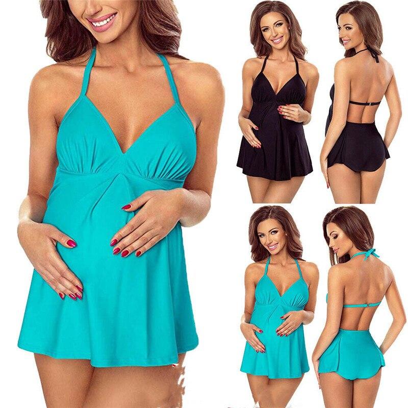 Terno de natação Para As Mulheres Grávidas Mulheres Halter Bikini Swimwear de Maternidade Swimsuit Verão Beachwear Plus Size Swimwear Com Decote Em V