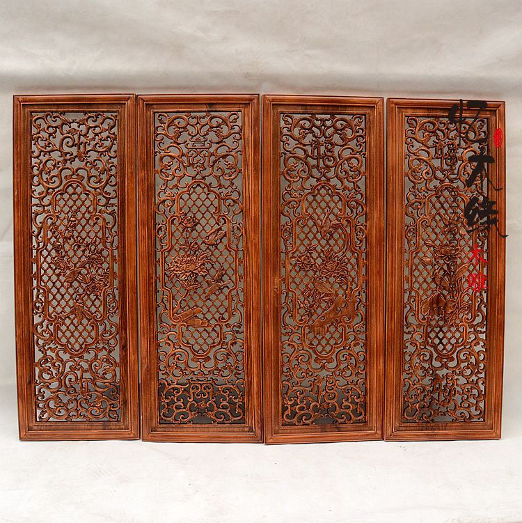 Dongyang woodcarving entrance partition, Feng Shui pendant, camphor wood screen, four sets of solid wood four seasons vertical s dongyang woodcarving camphor wood furniture wood carved camphorwood box suitcase box antique calligraphy collection box insect d