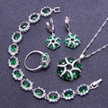 New Arrival Green Created Emerald White Topaz 925 Silver Jewelry Sets For Women Bracelets Necklace Pendant Earrings Ring