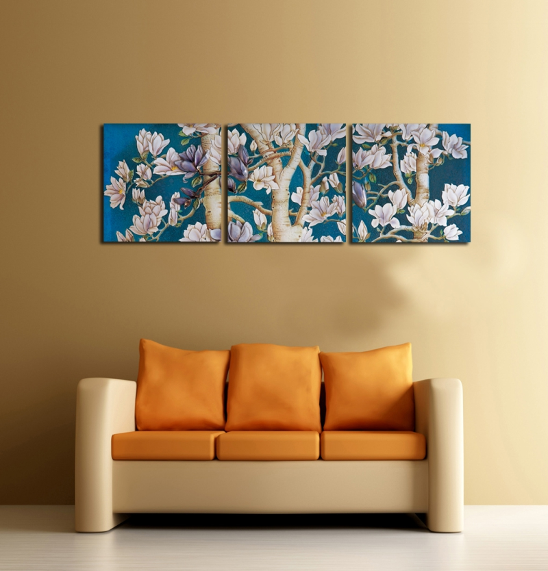 3 Pieces Wall Art Beautiful Magnolia Tree Canvas Painting Hd Prints Flower Picture Living Room