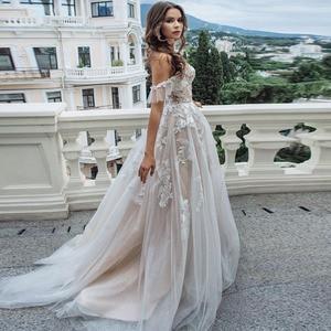 Image 5 - Eightal boho 웨딩 드레스 비치 아가씨 어깨 공주 웨딩 드레스 아플리케 레이스 tulle romatic bridal dress