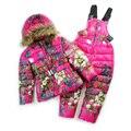 2 Шт./компл. Детская Одежда (вниз Куртка + Комбинезон) 2016 Новый Спорт лыжный снег костюм Новорожденных Девочек костюм Зима теплая детская одежда