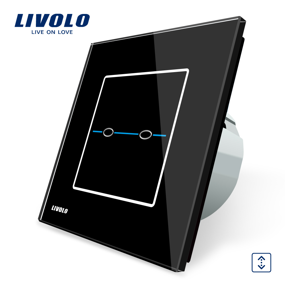 Livolo EU Standard  AC 220-250V, VL-C702W-32, Black Crystal Glass panel Curtain Switch, 2 Gangs 1 Way, Wall Touch Screen Switch eu us smart home remote touch switch 1 gang 1 way itead sonoff crystal glass panel touch switch touch switch wifi led backlight
