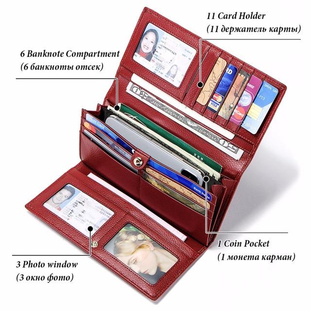 RFID Billetera de cuero genuino de las mujeres cerrojo monederos mujeres rojo cartera titular de la tarjeta de embrague bolsas para las mujeres