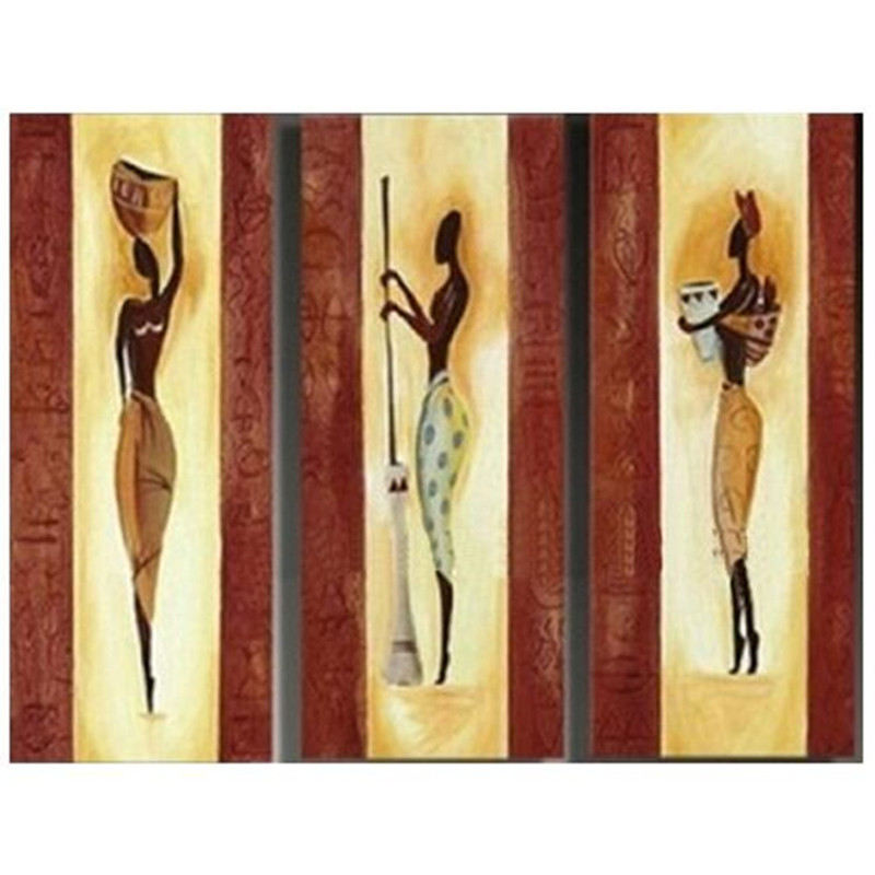 3 Piece Picture Canvas Art Hand Painted Abstract Figure Oil Painting Handmade Working African Women Paintings Modern Home Decor