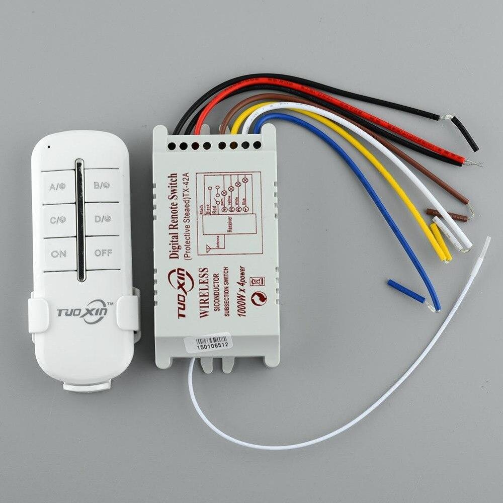 Transmissor sem fio do interruptor da lâmpada do controle remoto de digitas do interruptor da luz de 220 v 4 canais