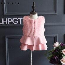 Принцессы пальто для девочек Демисезонный зимняя детская верхняя одежда модные флисовые жилет Дети Костюмы Пальто для девочек, верхняя одежда для малышей AA5318