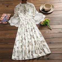 Mori menina doce vestidos de verão feminino floral impresso longo chiffon vestido feminino bowknot manga curta babados longo