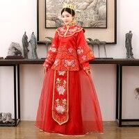 6956e73fa Qing Qi 2016 Traditional Chinese Bride Wedding Costume XiuHeFu LongFengGua  Toasting Costume Hanfu with Hair Tiaras