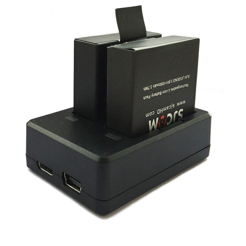 SJCAM 2 шт. SJ6 батареи 3,8 в 1000 мАч аккумуляторная батарея + двойное зарядное устройство для SJCAM SJ6 Legend аксессуары для спортивной экшн-камеры
