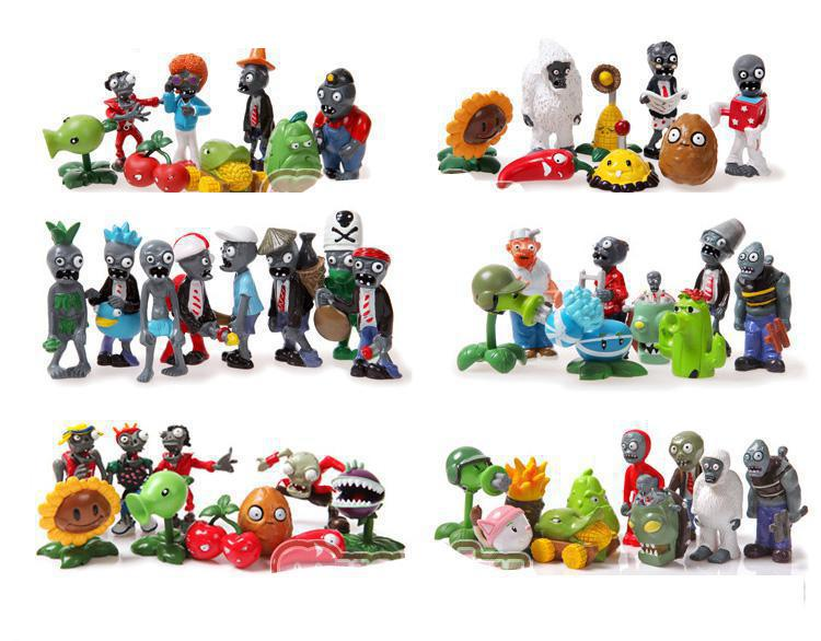 52pcs/set Plants VS Zombies Crazy Party Version PVZ PVC Action Figures Toys Dolls 3-8cm Free Shipping