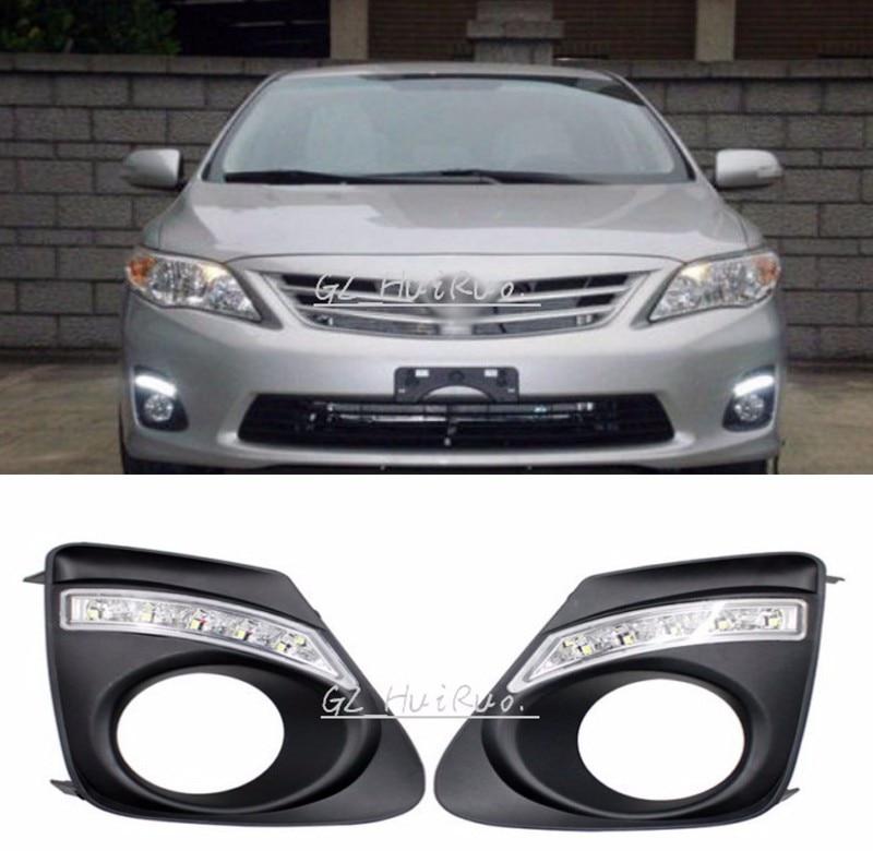 Super Bright LED   12V DRL LED Car light DRL Daytime Running Lights For Toyota Corolla 2011 - 2013 with fog light