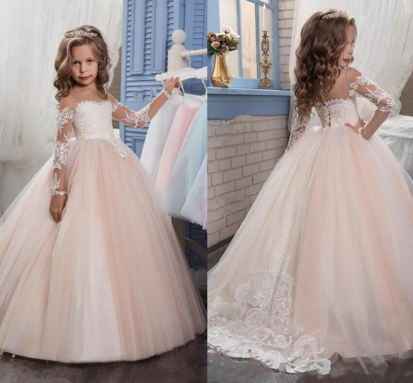 White Ivory Flower Girls Dresses for Wedding Jewel Neck Long Sleeves Lace Appliques Sweep Train Pageant Gown Communion Dress stylish jewel neck lace splicing long sleeve backless dress for women