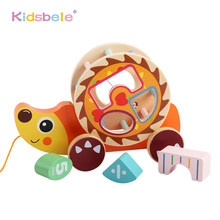 Wooden Educational Toys Shape Sorter Cars Toys Cartoon Hedgehog/fox/dinosaur/snails Block Hand-eye Coordination Kids Toy(China)