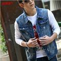 Qualidade! Roupas dos homens Casual Slim Fit Denim colete jeans Vintage casaco sem mangas / colete frete grátis Q410