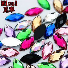 Micui 200pcs 7 15mm Horse Eye Mix color Acrylic Rhinestones Crystals  Flatback Strass Crystal Stone a4b62aa11a49
