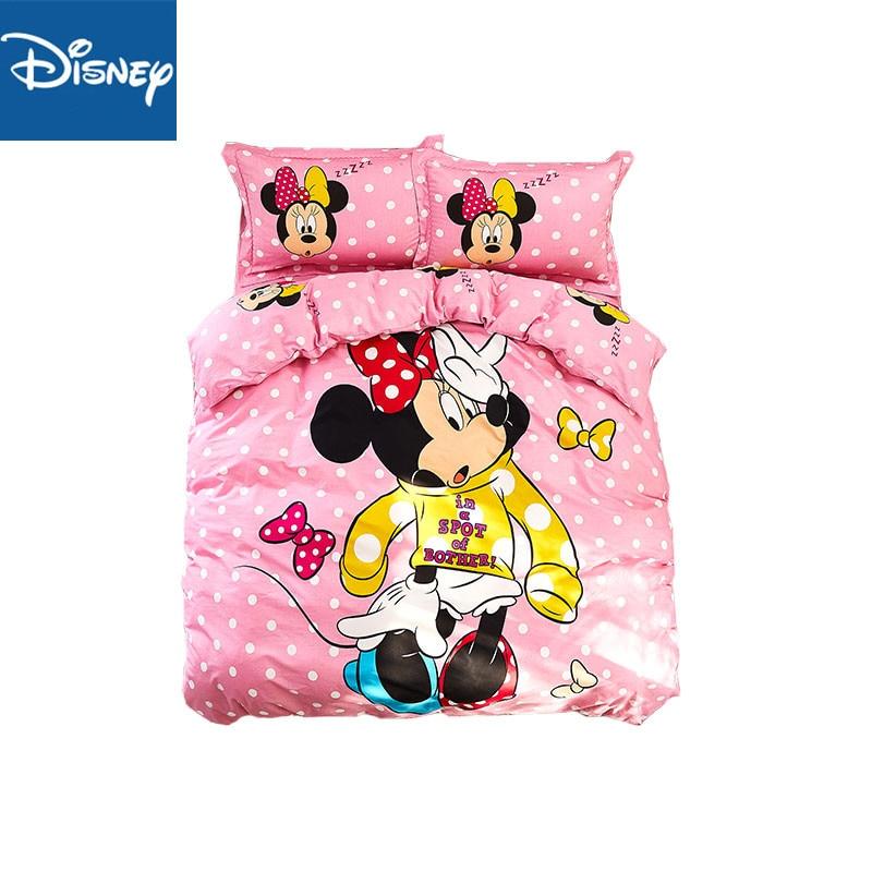 Disney Minnie Mouse comforter Bedding Sets single  king size 3/4PC bedspread beautiful pillowcase kid home decor 100% cottonDisney Minnie Mouse comforter Bedding Sets single  king size 3/4PC bedspread beautiful pillowcase kid home decor 100% cotton