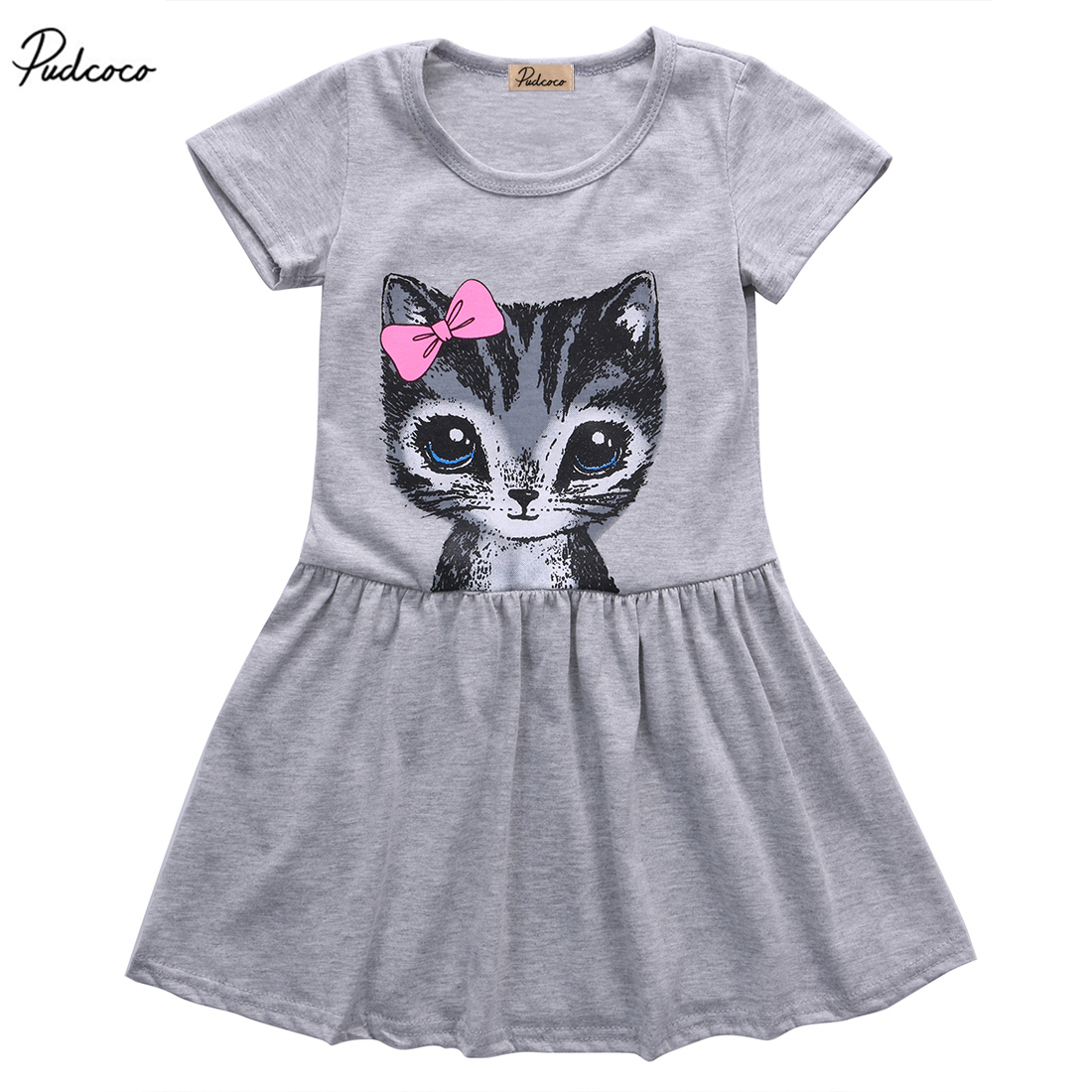 Pudcoco Cute Cat Lovely Dress Toddler Baby Girls Princess Short Sleeve Dress Party Kids Tulle Tutu Dress Gray Pink