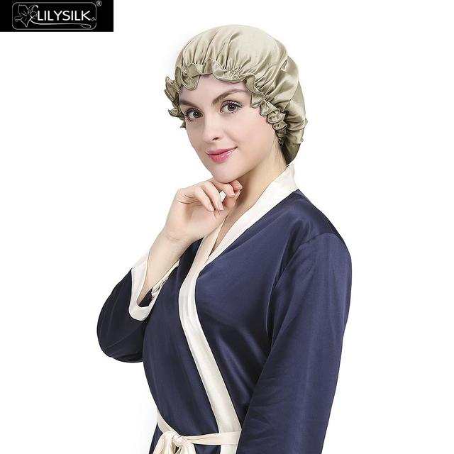 b47721733ac Lilysilk Flounced Silk Night Sleep Caps 2017 Brand Women Solid 19 Momme  Satin Elegant Hair Care