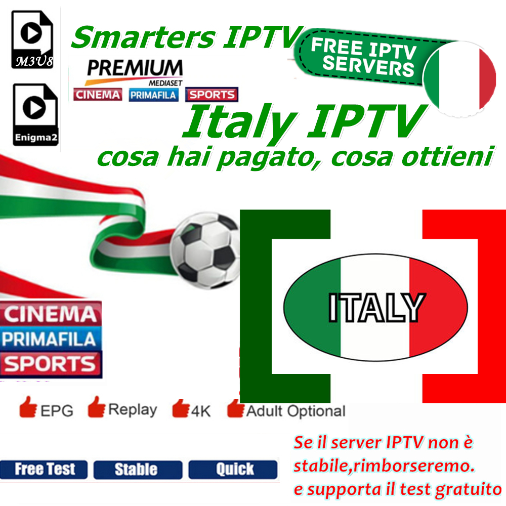 Smarters IPTV Italy IPTV Dazn Italia Mediaset Premium Subscription support in m3u8 Enigma2 Smart Android tv-in Set-top Boxes from Consumer Electronics