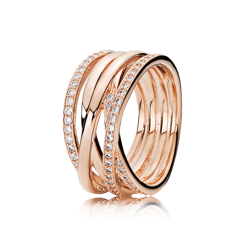 Women Silver Ring with Full Crystal Bands