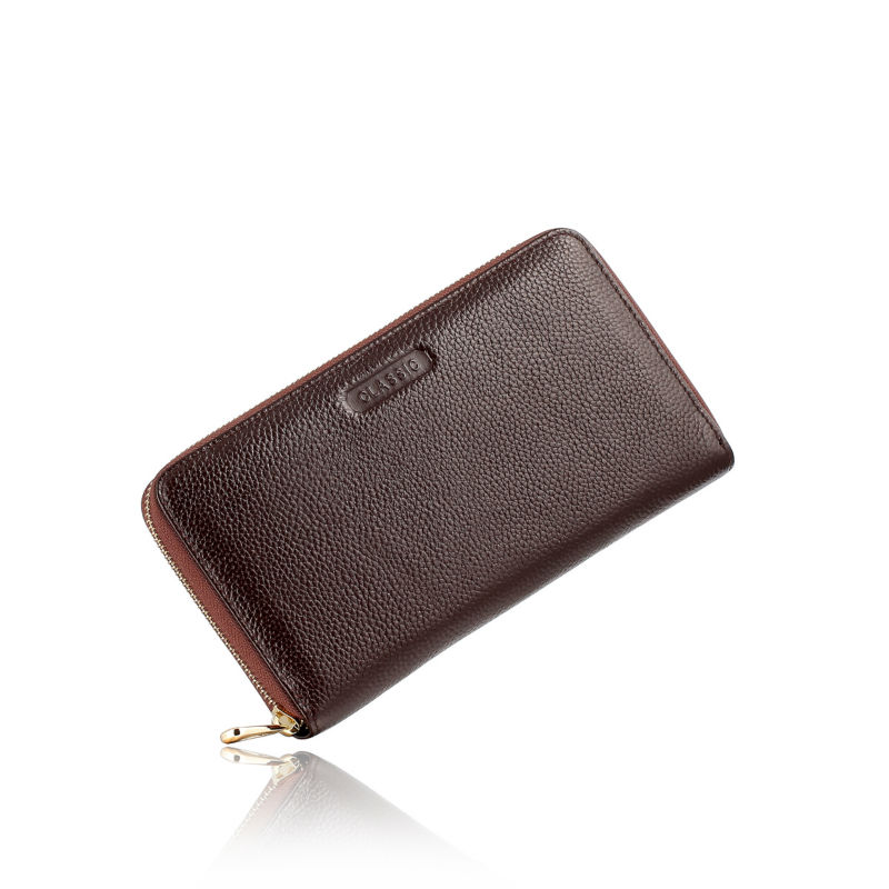 Fesyen 2016 Mens Brown Real Asli Kulit Zipper Handbag Perniagaan - Dompet