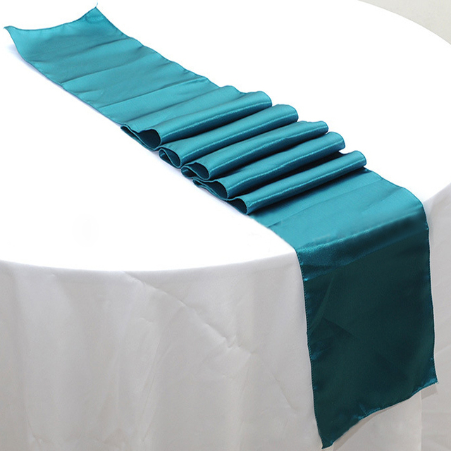 Free Shipping 50pcs 30 X 275cm Teal Blue Satin Table Runners For Banquet Wedding