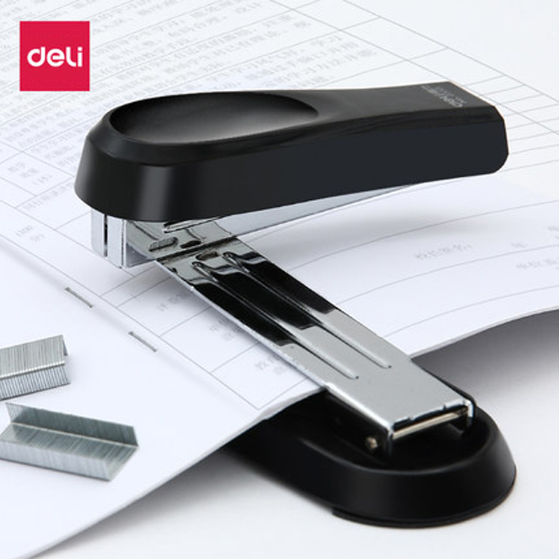 Deli Stapler Rotated Head Office And School Binding Supplies User Friendly Labor-saving Fashionable Center Joint Stapler 0333
