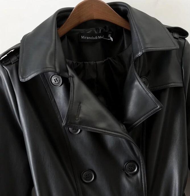 Cuir Veste Femme Boutonnage Faux Dames À Printemps Survêtement En Noir Vêtements Vintage Pu Nouveau Manteau Femmes Double Automne Slim 7vIqaE