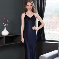 Sexy Women Nightgown100% silk Sleepwear Summer sleeveless mid calf Dress Lounge Sleep shirts solid blue lace dress Homewear
