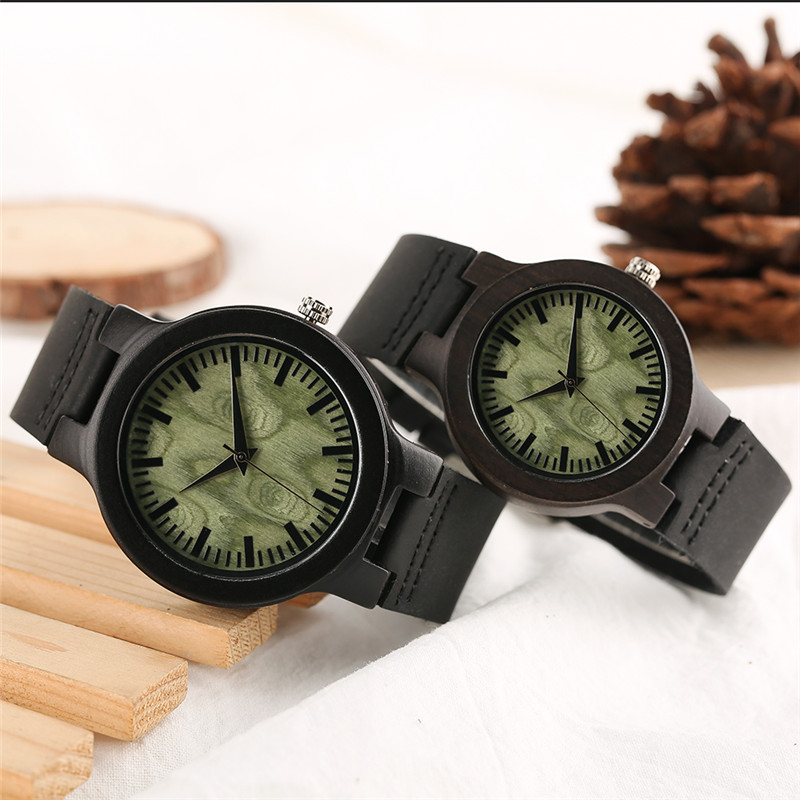 YISUYA Couple Watch Gifts Wooden-Lover Genuine-Leather Quartz Band Anniversary Man Woman