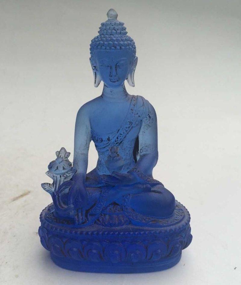 12 cm */Rare Blu Chines Cristallo Liuli Buddha statue