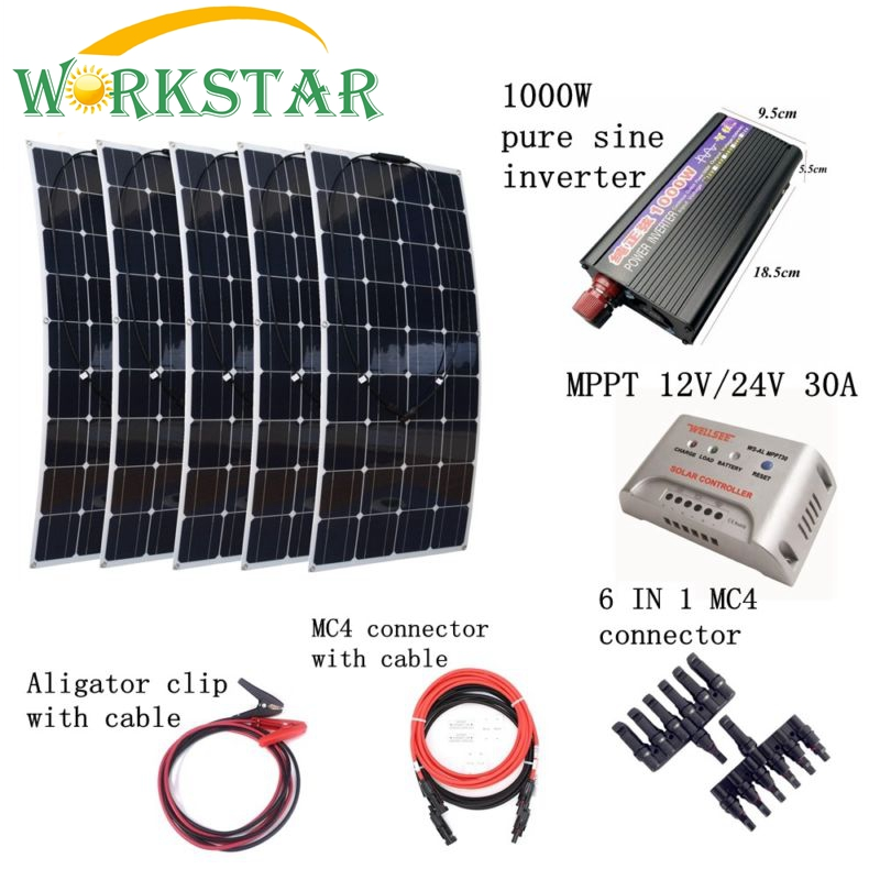 5*100W Flexible Solar Panel Charger+Peak 1000W Inverter+MPPT 30A Controller with Cables Houseuse 500W Solar Power System Kit 4pcs 100w flexible solar panel with mppt 30a controller and mc4 y connectors for 12v battery solar charger houseuse solar kit