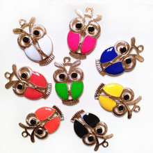 New Style White Red Black Pink Owl Design Fashion Zinc Alloy Pendant Jewelry accessories for Necklace bracelet