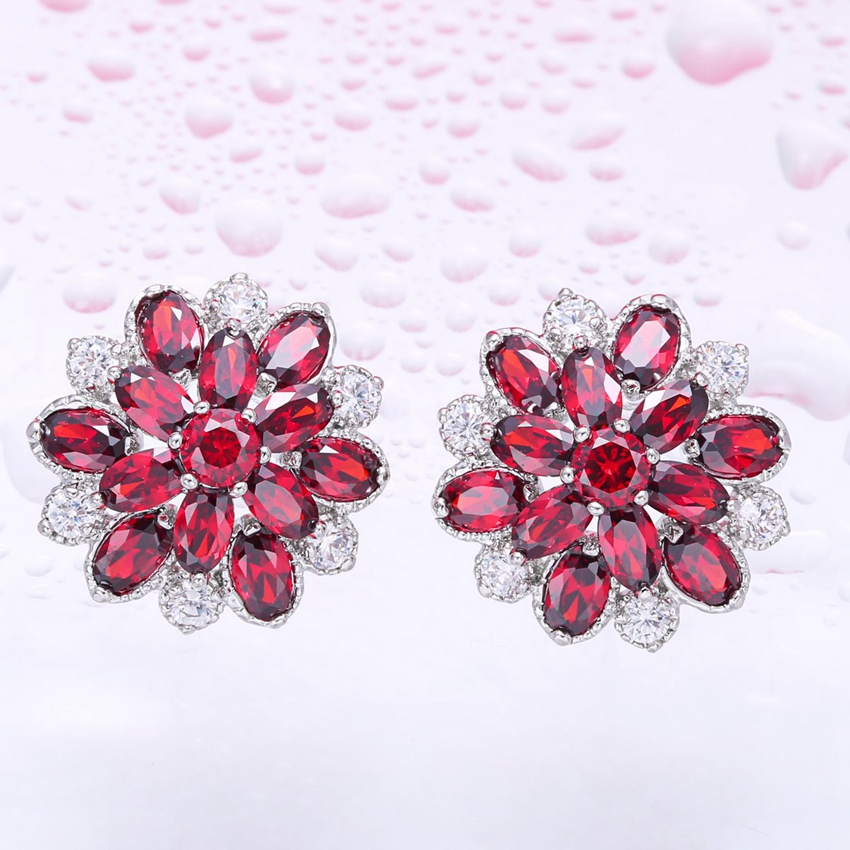 ZHE FAN Luxury AAA Cubic Zirconia Flower Stud Earring Gold Color Plated Fashion 6 Claws Ear Rings Jewelry Red Colorful Blue