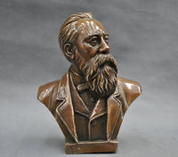 7 China Pure Bronze Communist Friedrich Von Engels Bust Statue