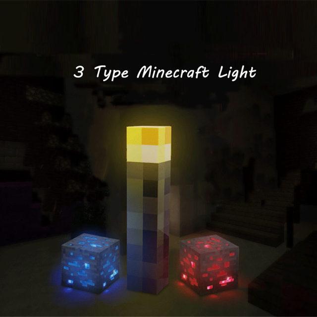 Original Minecraft Minecraft Figura de Acción Antorcha LED Lámpara de Mano Para Montaje En Pared Popular Redstone Mineral Cuadrados Minecraft Luz de La Noche