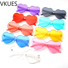 VKUES Fashion Womens Heart-shaped Sunglasses Sweet Solid Color Shades for Women UV400 Thick Goggles Festival Mirror