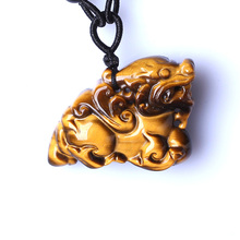 Drop Shipping Tigers Eye Stone Pendant Hand Carved Brave Troops Necklace With Chain Lucky Amulet Fine Jewelry For Men Women Gift