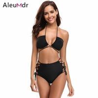Aleumdr Lady Sexy Bikini Set Women Swimwear 2018 Cut Out Brazilian Bikini Swimsuit High Cut LC410505