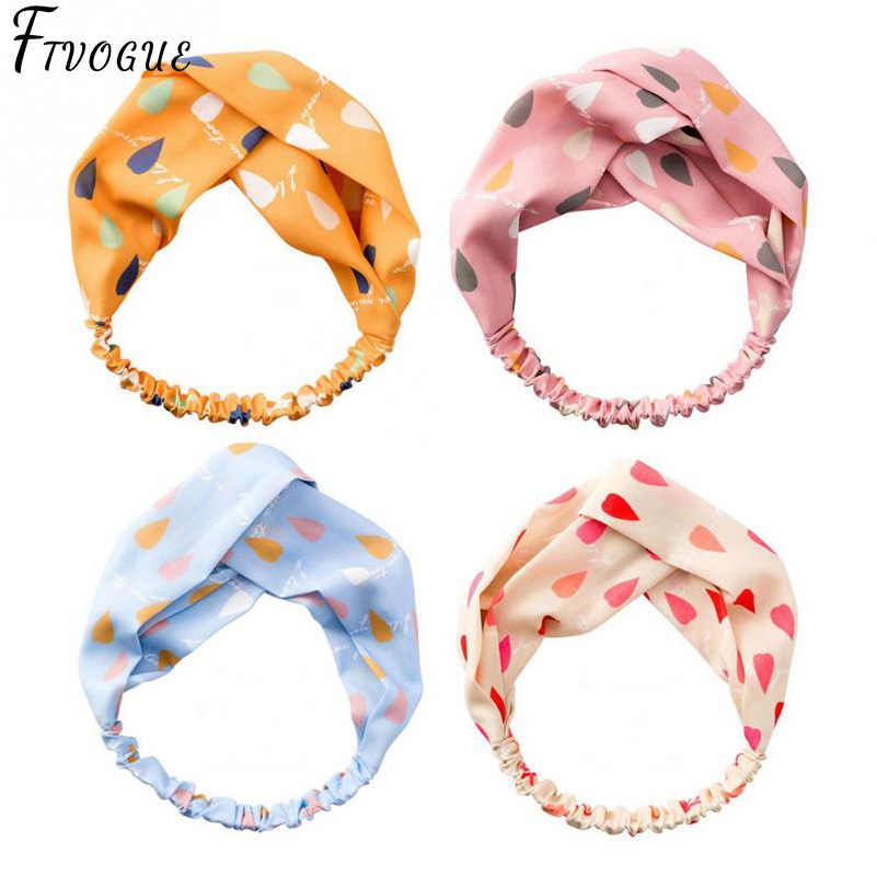 New Top Knot Turban Headband Floral Elastic Hairband Head Hoop Hair Accessories for Women Girl Twisted Knotted Makeup Head Wrap