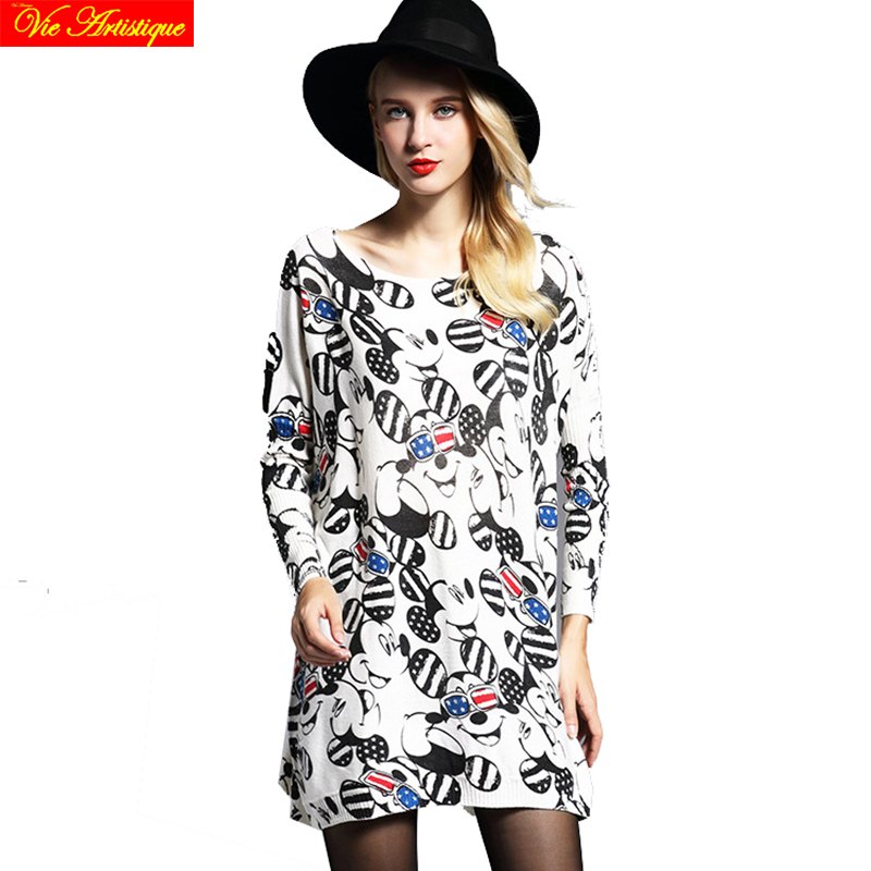 womens sweat fem me long Christmas sweaters and pullovers loose large size turtleneck printed black mick mouse 2018 spring VA