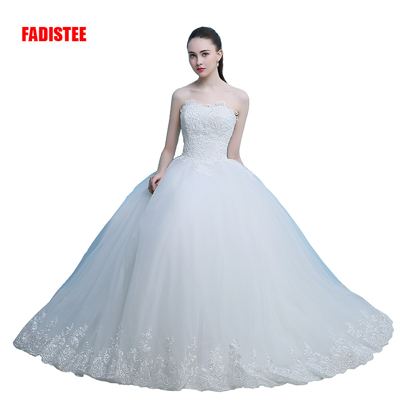 FADISTEE New Arrival Elegant Wedding Dress Vestido De Festa Dress Appliques Beading Long Style Strapless Party Dresses