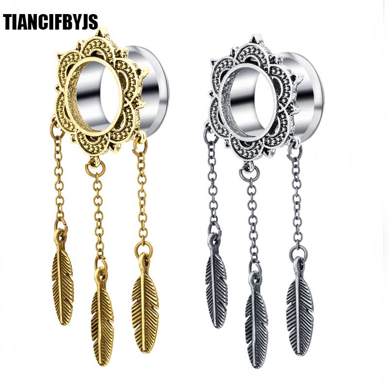 Tiancifbyjs 0g Earrings Body Jewelry Piercing Stainless Ear Gauge Expander Plugs And Tunnels Feather Dangle Lobe Stretcher In From