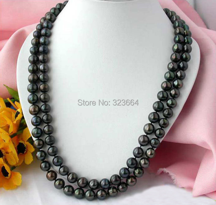 50 12MM ROUND BLACK FRESHWATER CULTURED PEARL NECKLACE 50 12mm round black freshwater cultured pearl necklace