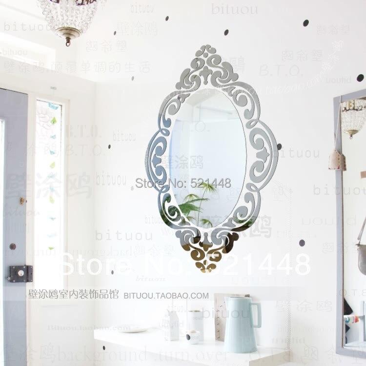 2015 New 107cm*150cm Ikea Europe Style Oval Frame Dresser Ring 3D Acrylic Mirror Wall Sticker Home Decor Art Decal W20 - Yiwu Co., Ltd store
