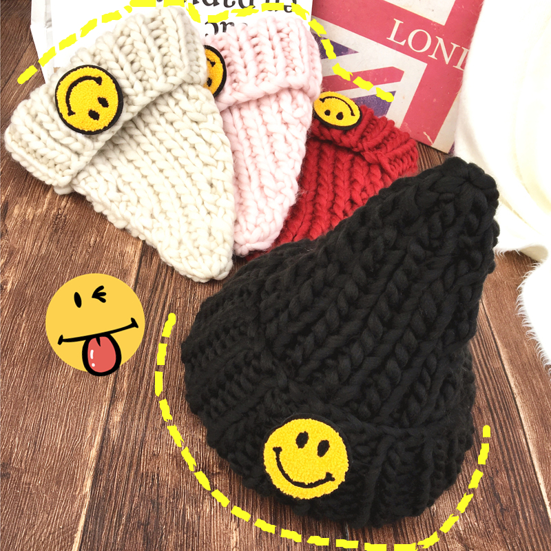 Winter Skullies Beanies Hat Women 2017 New Hot Fashion Casual Warm Thick Smiling Faces Patchwork Knitting Hats skullies